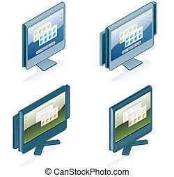 iconen, communie, -, computer, vastgesteld ontwerp, hardware, 55g