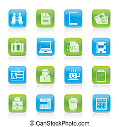 iconen, communie, kantoor, zakelijk
