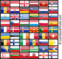 iconen, communie, vlaggen, europe., ontwerp, landen