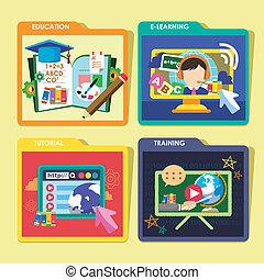 iconen, concepten, vastgesteld ontwerp, plat, opleiding