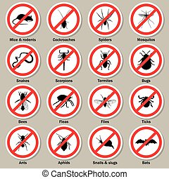 iconen, controle, pest, set., insect
