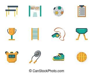 iconen, cultuur, kleur, lichamelijk, set, vector, plat