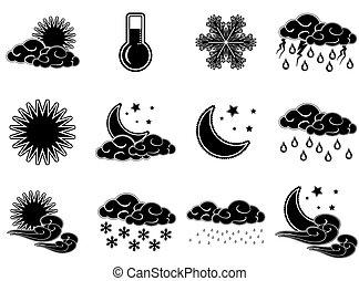 iconen, dag, nacht, weer, kleur, set