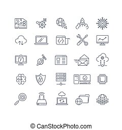 iconen, databank, analytics, vector, gegevensverwerking, lijn, wolk
