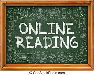 iconen, doodle, concept., online, chalkboard., lezende