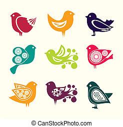 iconen, doodle, vogels, set, spotprent