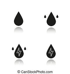 iconen, druppel, energie, black , schaduw, set, water