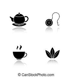 iconen, druppel, thee, black , set, schaduw