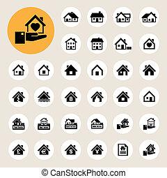 iconen, echte, set., huisen, estate.