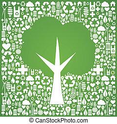 iconen, eco, op, boompje, vorm, groene achtergrond