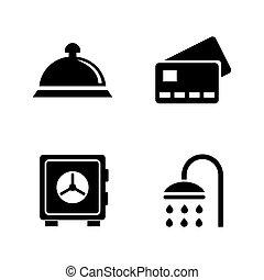 iconen, eenvoudig, hotel, verwant, vector, services.