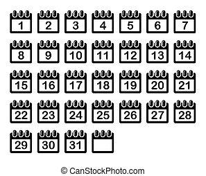 iconen, eenvoudig, set., maand, vector, kalender