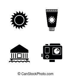 iconen, eenvoudig, vakantie, verwant, holiday., vector