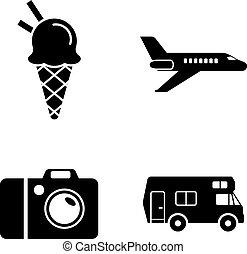iconen, eenvoudig, vakantie, verwant, reizen, vector, reis