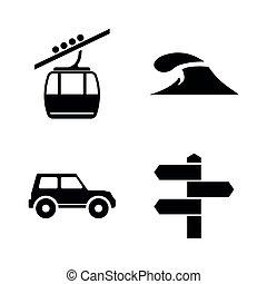 iconen, eenvoudig, verwant, reizen, adventure., vector, toerisme