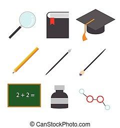 iconen, eenvoudig, verwant, vector, illustratie, opleiding