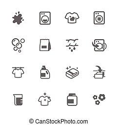 iconen, eenvoudig, wasserij