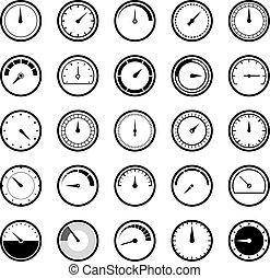 iconen, energie, speedometr, meter, manometr, vector, circulaire, set., pictogram