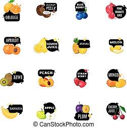 iconen, etiketten, verzameling, polygonal, vruchten, fris