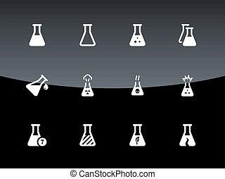 iconen, flacon, medisch, laboratorium, achtergrond., black