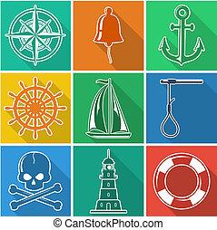 iconen, flan, set, nautisch