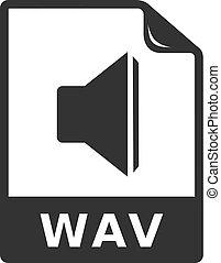 iconen, formaat, -, bw, bestand, audio