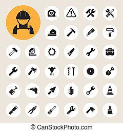 iconen, gebouw stel