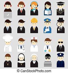 iconen, gevarieerd, mensen, beroep