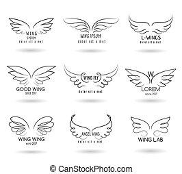 iconen, gevleugeld, doodle, set., hand, vector, logo, getrokken, vleugels