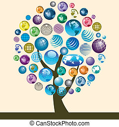 iconen, globe, kleurrijke, boompje
