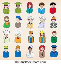 iconen, hand, getrokken, beroep