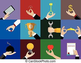 iconen, handen, set, illustratie, vector, ontwerp, plat