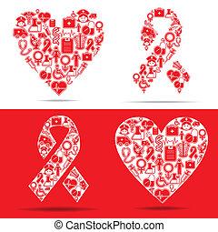 iconen, hart, maken, aids, medisch