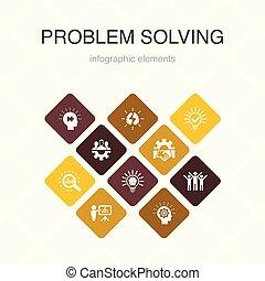 iconen, idee, teamwork, kleur, analyse, probleem,...