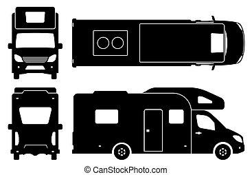 iconen, illustratie, kampeerautobestelwagen, black , vector