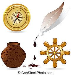 iconen, illustratie, set, vector, nautisch