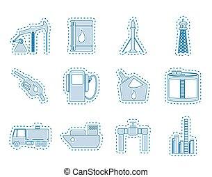 iconen, industrie, benzine, olie