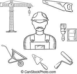 iconen, industrie, bouwsector, sketched, aannemer
