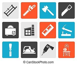 iconen, industrie, woodworking
