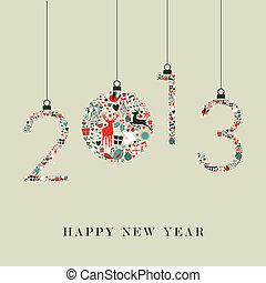 iconen, jaar, hangend, nieuw, kerstmis, 2013