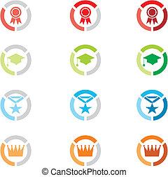 iconen, kentekens, niveau