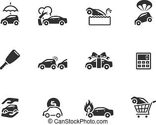 iconen, kleur, auto, -, enkel, verzekering