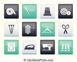 iconen, kleur, industrie, textiel, voorwerpen, achtergrond, op