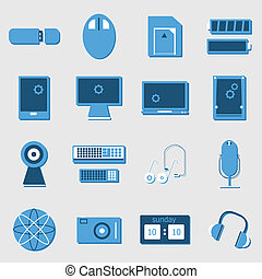 iconen, kleur, licht, achtergrond, apparaat, elektronisch