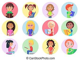 iconen, kleur, meiden, jongens, witte , lezende