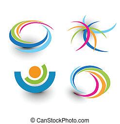 iconen, kleurrijke, element