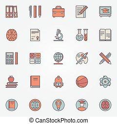 iconen, kleurrijke, opleiding