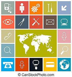 iconen, kleurrijke, plein, set, vector, ontwerp, plat