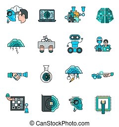 iconen, kunstmatig, set, intelligentie, lijn