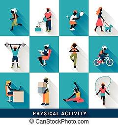 iconen, lichamelijk, moderne, set, activiteit